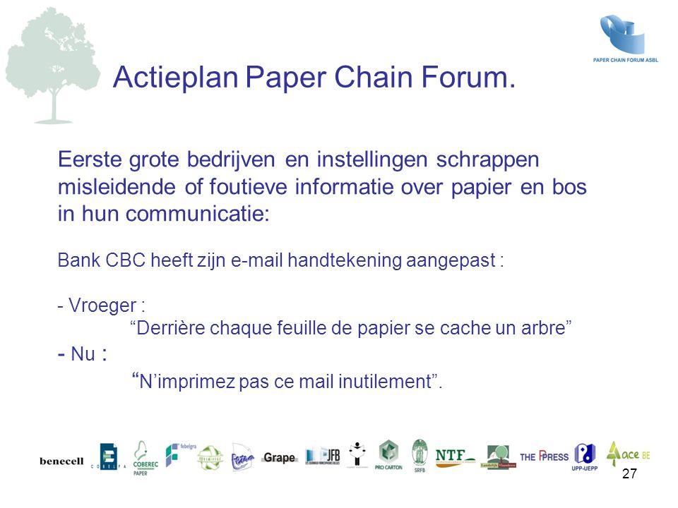 Eerste grote bedrijven en instellingen schrappen misleidende of foutieve informatie over papier en bos in hun communicatie: Bank CBC heeft zijn e-mail
