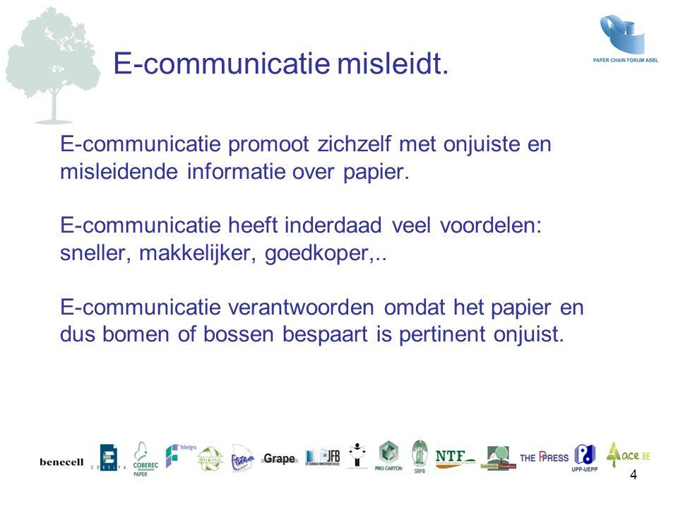 E-communicatie promoot zichzelf met onjuiste en misleidende informatie over papier. E-communicatie heeft inderdaad veel voordelen: sneller, makkelijke