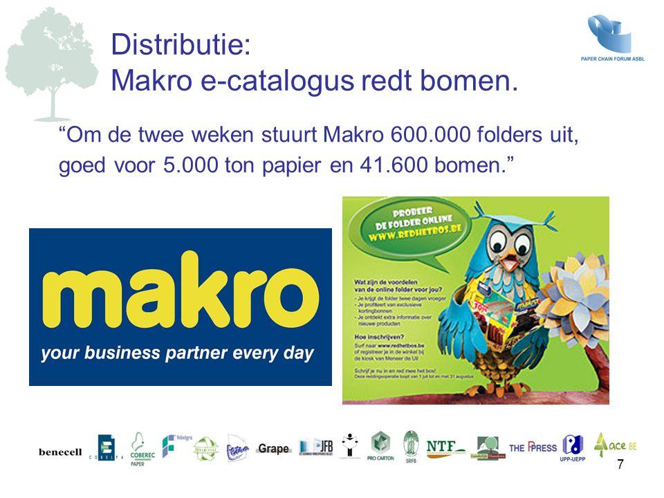 """""""Om de twee weken stuurt Makro 600.000 folders uit, goed voor 5.000 ton papier en 41.600 bomen."""" Distributie: Makro e-catalogus redt bomen. 7"""