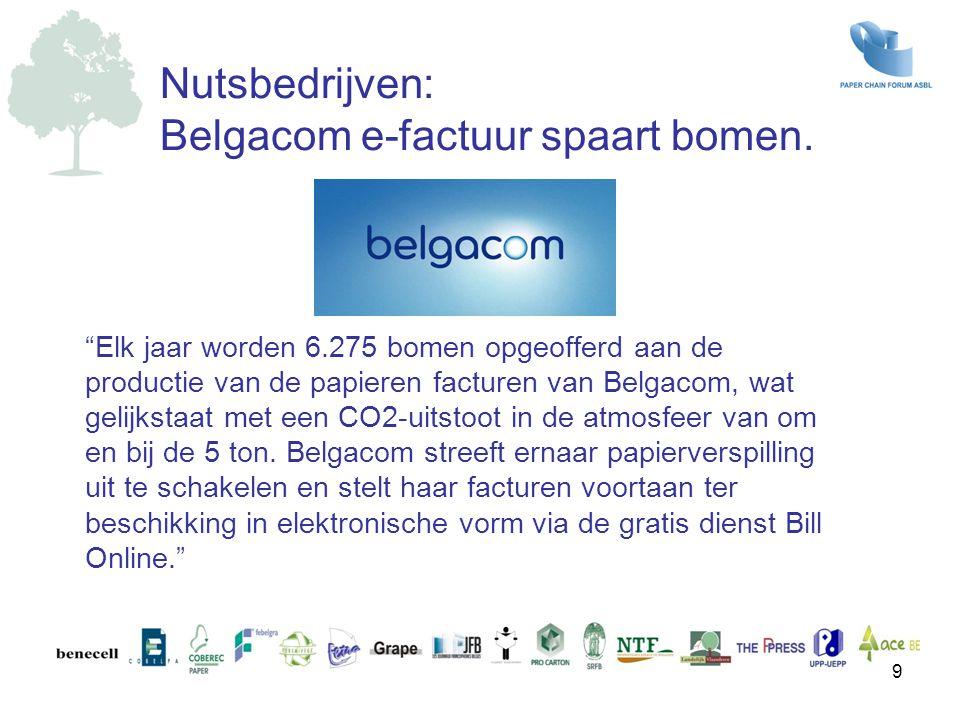 """""""Elk jaar worden 6.275 bomen opgeofferd aan de productie van de papieren facturen van Belgacom, wat gelijkstaat met een CO2-uitstoot in de atmosfeer v"""