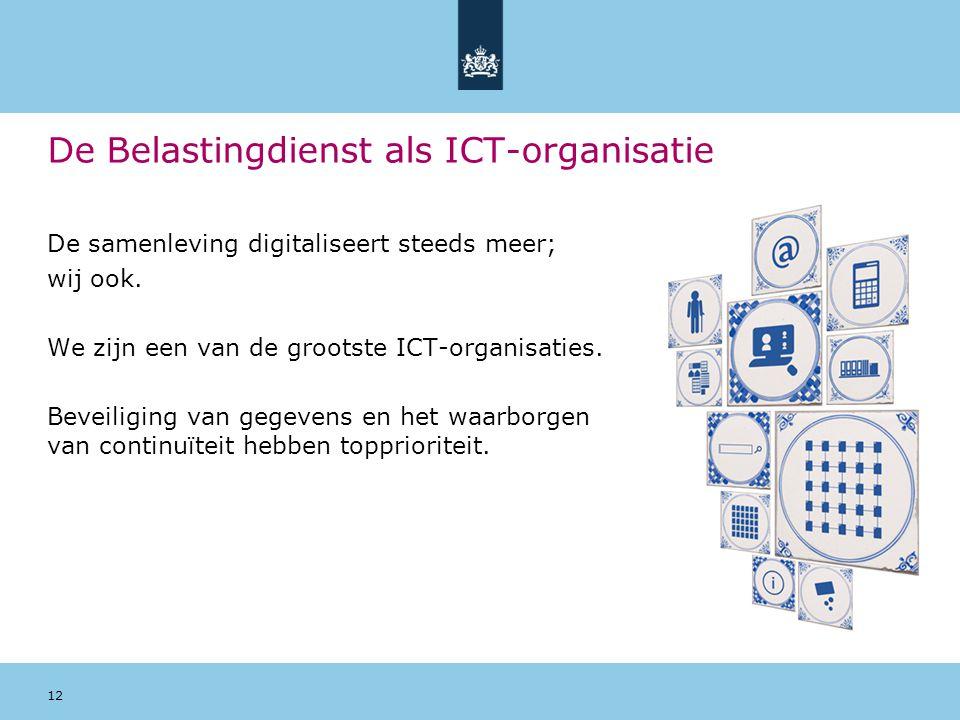 12 De Belastingdienst als ICT-organisatie De samenleving digitaliseert steeds meer; wij ook. We zijn een van de grootste ICT-organisaties. Beveiliging