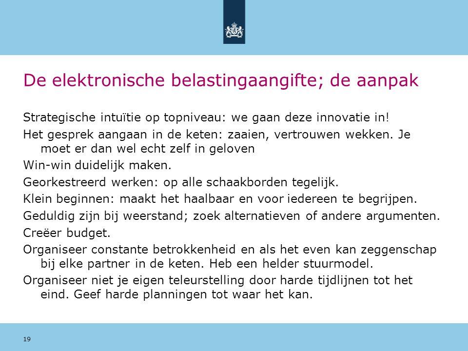 De elektronische belastingaangifte; de aanpak Strategische intuïtie op topniveau: we gaan deze innovatie in! Het gesprek aangaan in de keten: zaaien,
