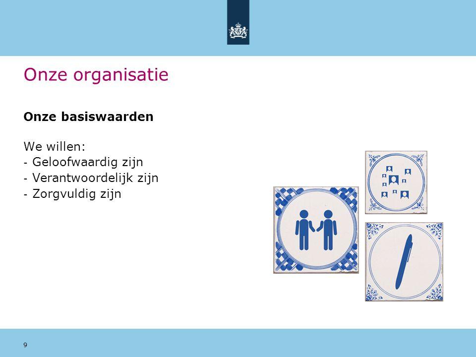 9 Onze organisatie Onze basiswaarden We willen: - Geloofwaardig zijn - Verantwoordelijk zijn - Zorgvuldig zijn