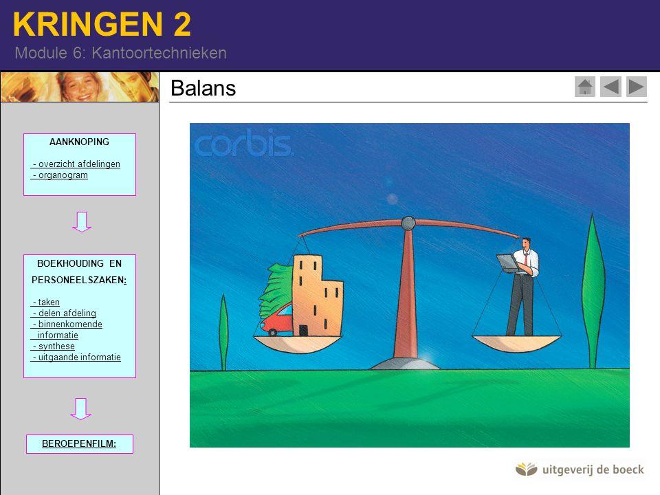 KRINGEN 2 Module 6: Kantoortechnieken Balans 42-17124435| RF| AANKNOPING - overzicht afdelingen - organogram BOEKHOUDING EN PERSONEELSZAKEN:: - taken - delen afdeling - binnenkomende informatie - synthese - uitgaande informatie BEROEPENFILM: 100968-91| RM |