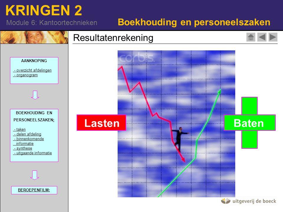 KRINGEN 2 Module 6: Kantoortechnieken Boekhouding en personeelszaken Resultatenrekening 101740-16 (RM) Lasten Baten AANKNOPING - overzicht afdelingen - organogram BOEKHOUDING EN PERSONEELSZAKEN:: - taken - delen afdeling - binnenkomende informatie - synthese - uitgaande informatie BEROEPENFILM: