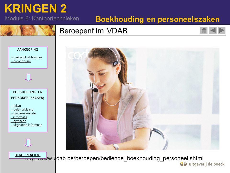 KRINGEN 2 Module 6: Kantoortechnieken Beroepenfilm VDAB http://www.vdab.be/beroepen/bediende_boekhouding_personeel.shtml Boekhouding en personeelszaken 42-15231012| RM AANKNOPING - overzicht afdelingen - organogram BOEKHOUDING EN PERSONEELSZAKEN:: - taken - delen afdeling - binnenkomende informatie - synthese - uitgaande informatie BEROEPENFILM: