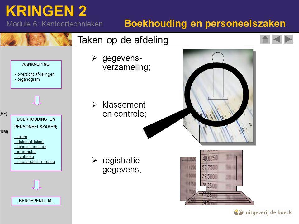KRINGEN 2 Module 6: Kantoortechnieken  gegevens- verzameling;  klassement en controle;  registratie gegevens; Taken op de afdeling Boekhouding en personeelszaken 42-15706301 (RF) 515-I-092-Q7866 (RM) AANKNOPING - overzicht afdelingen - organogram BOEKHOUDING EN PERSONEELSZAKEN:: - taken - delen afdeling - binnenkomende informatie - synthese - uitgaande informatie BEROEPENFILM: