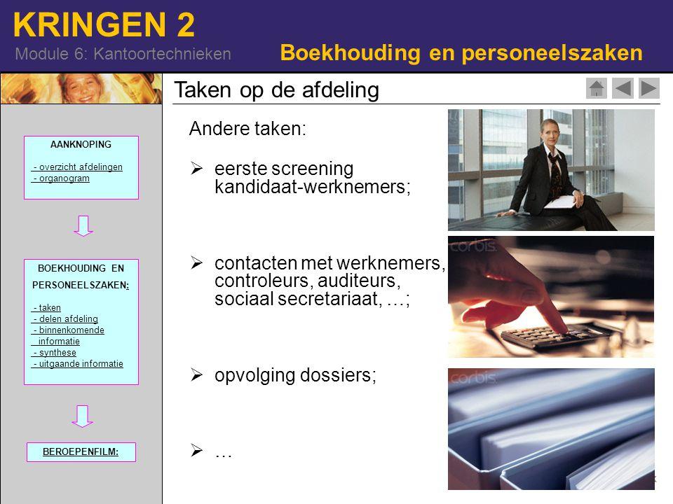 KRINGEN 2 Module 6: Kantoortechnieken Andere taken:  eerste screening kandidaat-werknemers;  contacten met werknemers, controleurs, auditeurs, socia