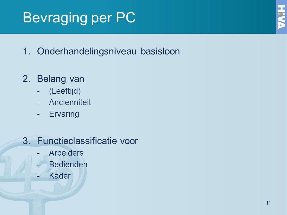 11 Bevraging per PC 1.Onderhandelingsniveau basisloon 2.Belang van -(Leeftijd) -Anciënniteit -Ervaring 3.Functieclassificatie voor -Arbeiders -Bediend