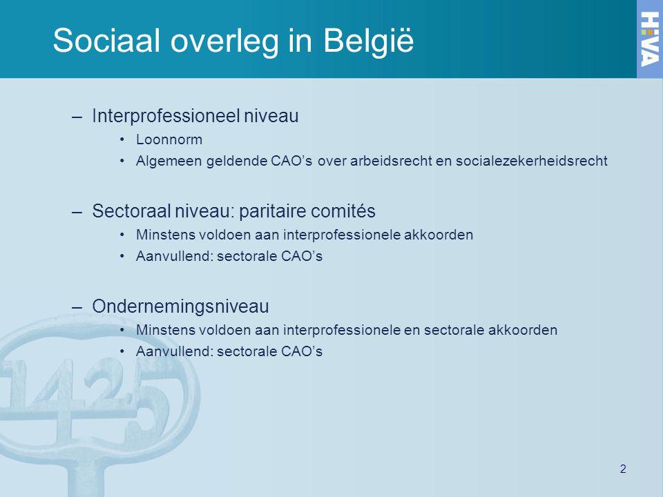 2 Sociaal overleg in België –Interprofessioneel niveau Loonnorm Algemeen geldende CAO's over arbeidsrecht en socialezekerheidsrecht –Sectoraal niveau: