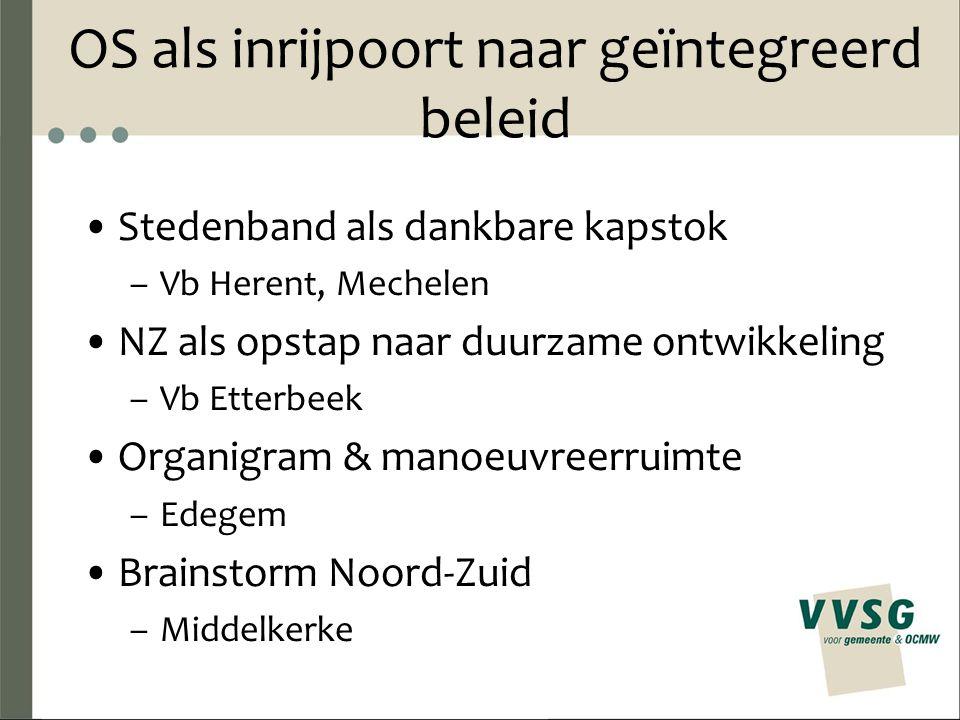 OS als inrijpoort naar geïntegreerd beleid Stedenband als dankbare kapstok –Vb Herent, Mechelen NZ als opstap naar duurzame ontwikkeling –Vb Etterbeek