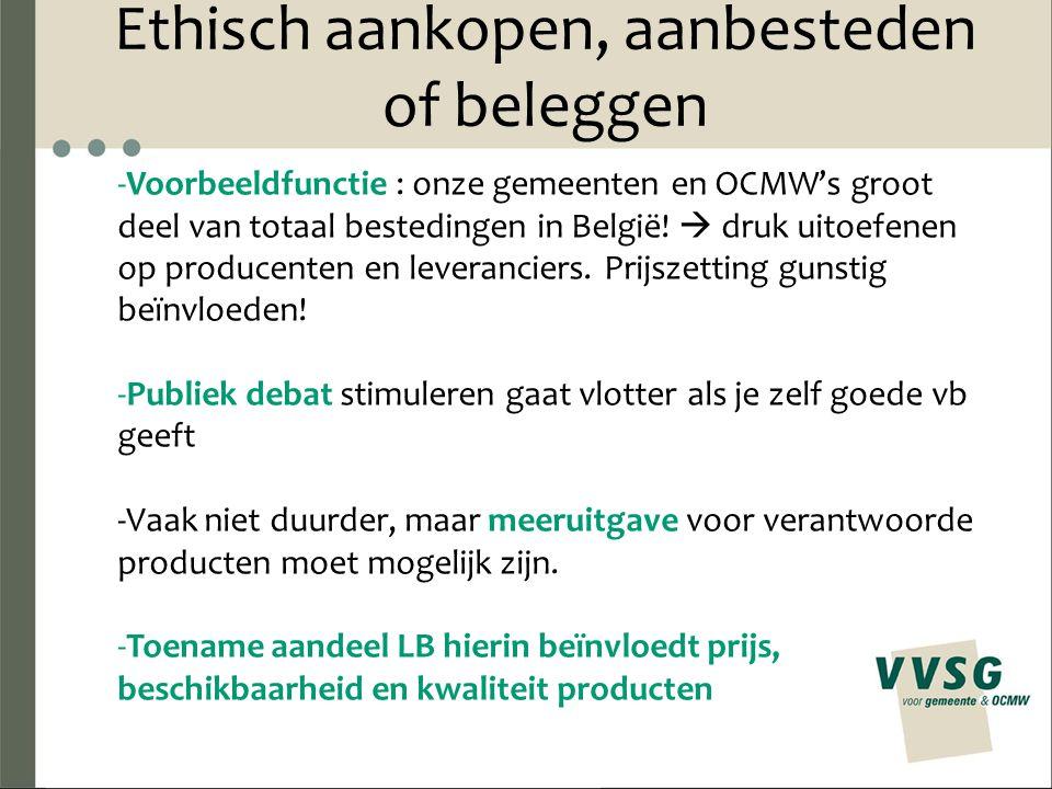 Ethisch aankopen, aanbesteden of beleggen -Voorbeeldfunctie : onze gemeenten en OCMW's groot deel van totaal bestedingen in België!  druk uitoefenen