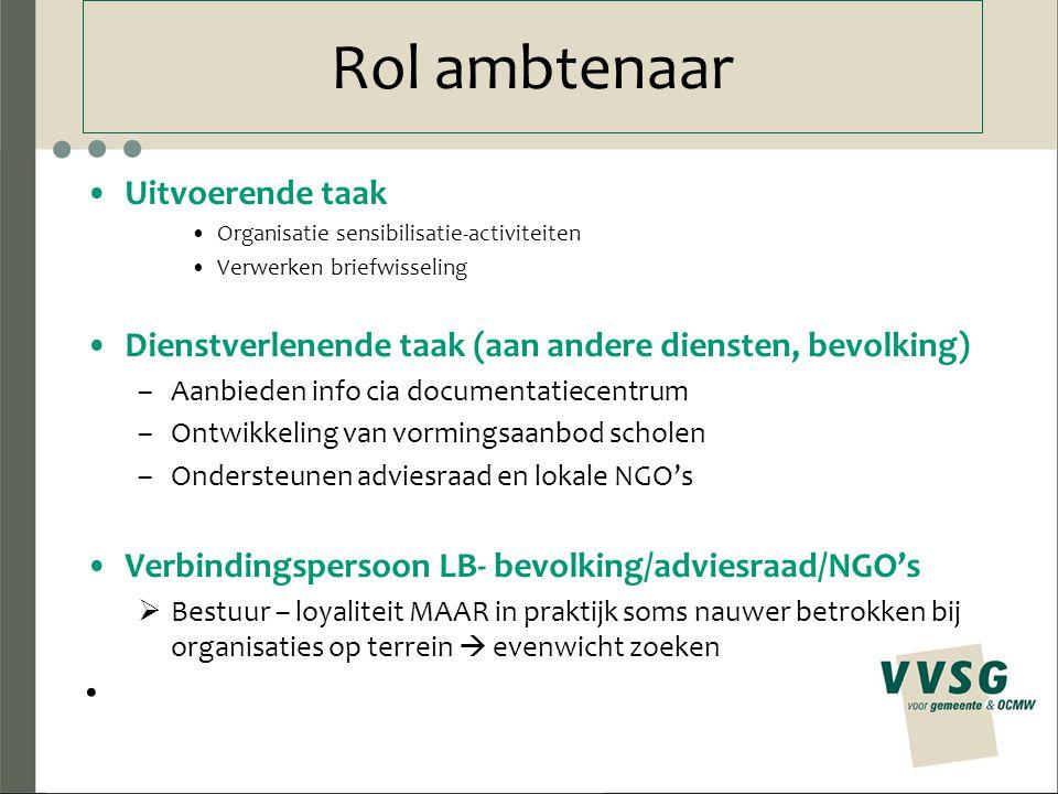 Rol ambtenaar Uitvoerende taak Organisatie sensibilisatie-activiteiten Verwerken briefwisseling Dienstverlenende taak (aan andere diensten, bevolking)