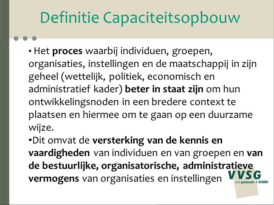 Definitie Capaciteitsopbouw Het proces waarbij individuen, groepen, organisaties, instellingen en de maatschappij in zijn geheel (wettelijk, politiek,