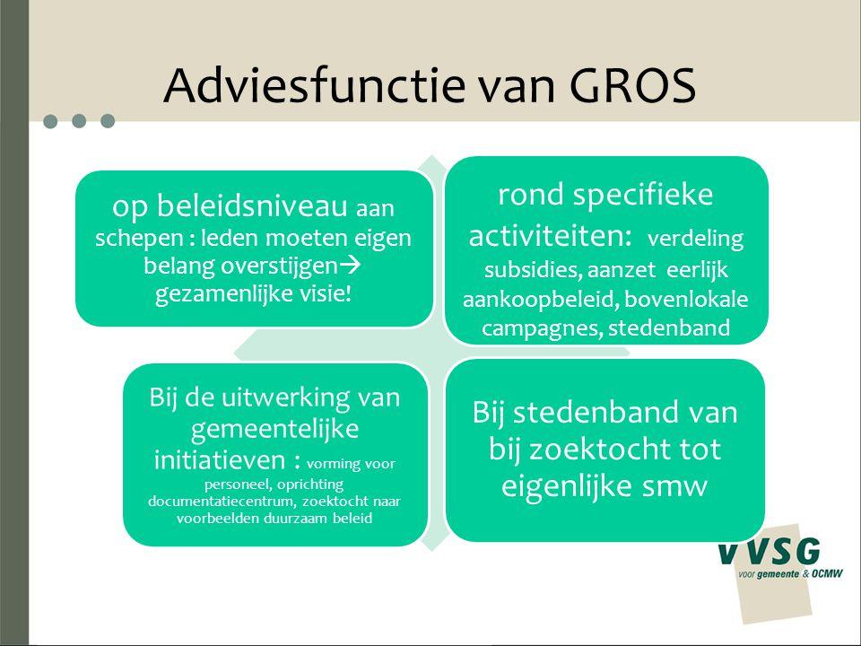 Adviesfunctie van GROS rond specifieke activiteiten: verdeling subsidies, aanzet eerlijk aankoopbeleid, bovenlokale campagnes, stedenband op beleidsni
