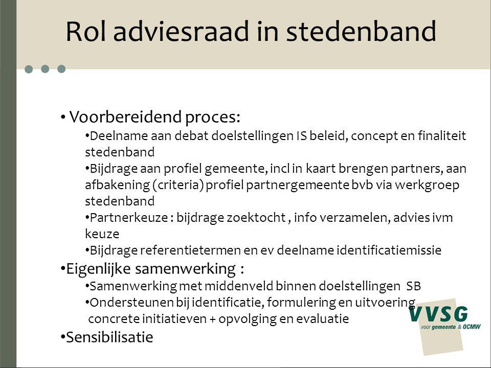 Rol adviesraad in stedenband Voorbereidend proces: Deelname aan debat doelstellingen IS beleid, concept en finaliteit stedenband Bijdrage aan profiel