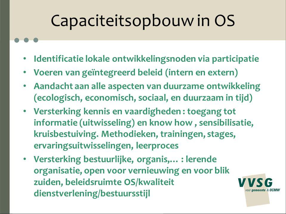 Capaciteitsopbouw in OS Identificatie lokale ontwikkelingsnoden via participatie Voeren van geïntegreerd beleid (intern en extern) Aandacht aan alle a