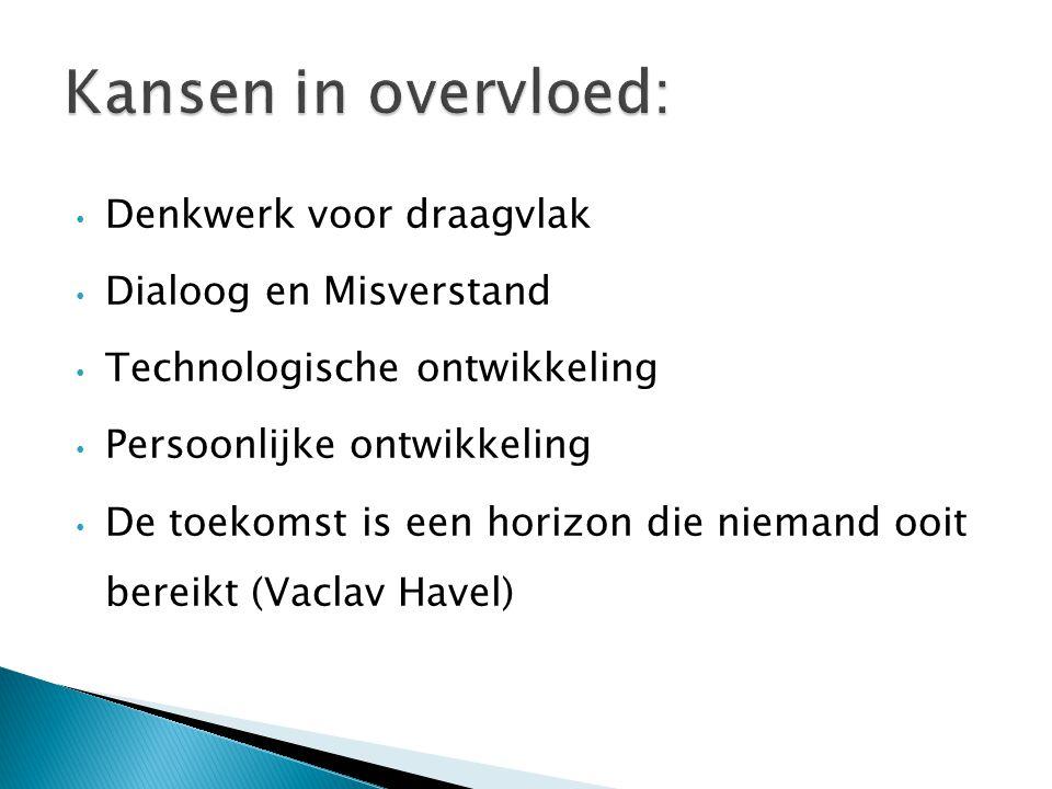 Denkwerk voor draagvlak Dialoog en Misverstand Technologische ontwikkeling Persoonlijke ontwikkeling De toekomst is een horizon die niemand ooit bereikt (Vaclav Havel)