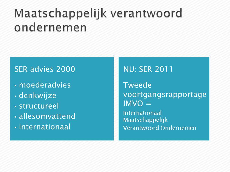 SER advies 2000 moederadvies denkwijze structureel allesomvattend internationaal NU: SER 2011 Tweede voortgangsrapportage IMVO = Internationaal Maatschappelijk Verantwoord Ondernemen
