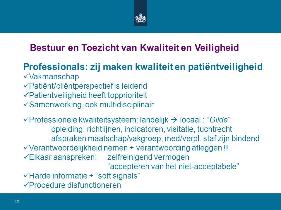12 Bestuur en Toezicht van Kwaliteit en Veiligheid Professionals: zij maken kwaliteit en patiëntveiligheid Vakmanschap Patiënt/cliëntperspectief is le