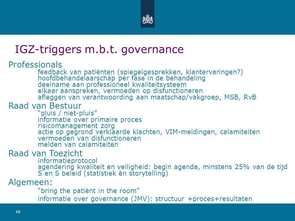 18 IGZ-triggers m.b.t. governance Professionals feedback van patiënten (spiegelgesprekken, klantervaringen?) hoofdbehandelaarschap per fase in de beha