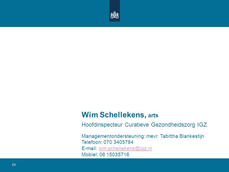 22 Wim Schellekens, arts Hoofdinspecteur Curatieve Gezondheidszorg IGZ Managementondersteuning: mevr. Tabittha Blankestijn Telefoon: 070 3405784 E-mai