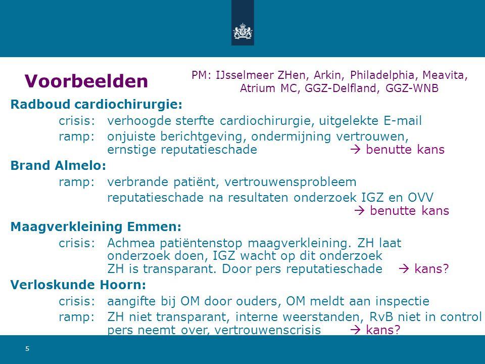 5 Voorbeelden Radboud cardiochirurgie: crisis:verhoogde sterfte cardiochirurgie, uitgelekte E-mail ramp:onjuiste berichtgeving, ondermijning vertrouwe