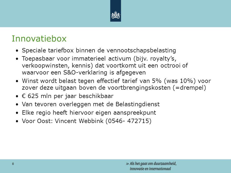 8 Innovatiebox Speciale tariefbox binnen de vennootschapsbelasting Toepasbaar voor immaterieel activum (bijv.