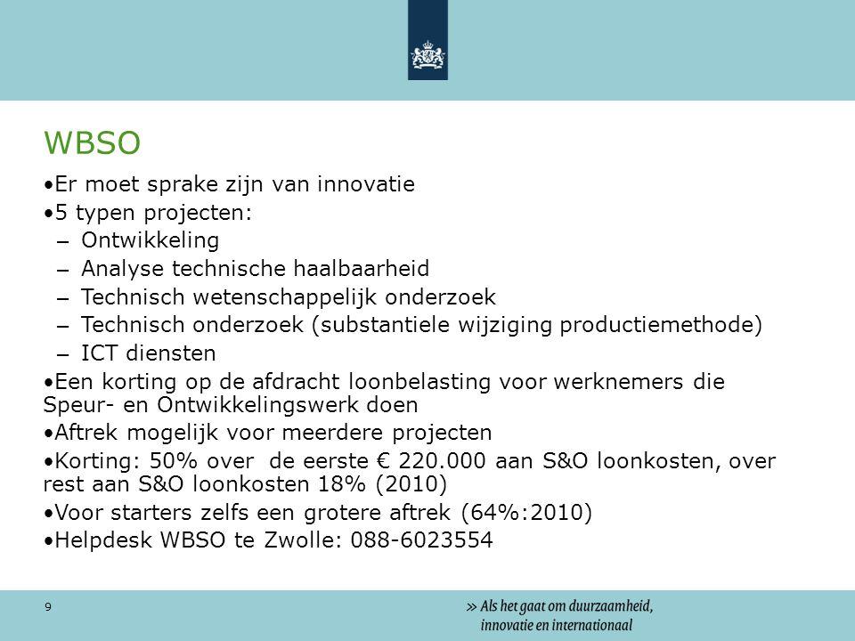 9 WBSO Er moet sprake zijn van innovatie 5 typen projecten: – Ontwikkeling – Analyse technische haalbaarheid – Technisch wetenschappelijk onderzoek – Technisch onderzoek (substantiele wijziging productiemethode) – ICT diensten Een korting op de afdracht loonbelasting voor werknemers die Speur- en Ontwikkelingswerk doen Aftrek mogelijk voor meerdere projecten Korting: 50% over de eerste € 220.000 aan S&O loonkosten, over rest aan S&O loonkosten 18% (2010) Voor starters zelfs een grotere aftrek (64%:2010) Helpdesk WBSO te Zwolle: 088-6023554