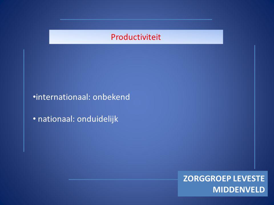 ZORGGROEP LEVESTE MIDDENVELD Productiviteit internationaal: onbekend nationaal: onduidelijk