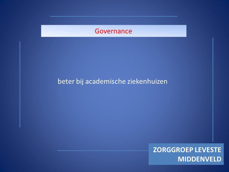 ZORGGROEP LEVESTE MIDDENVELD Governance beter bij academische ziekenhuizen