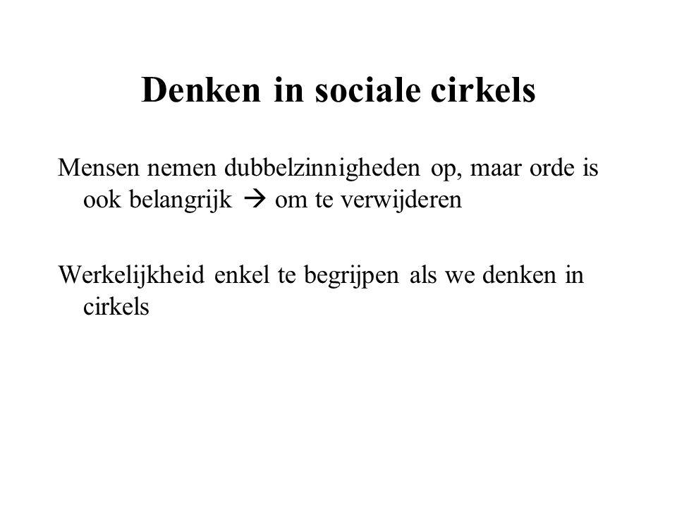 Denken in sociale cirkels Mensen nemen dubbelzinnigheden op, maar orde is ook belangrijk  om te verwijderen Werkelijkheid enkel te begrijpen als we d