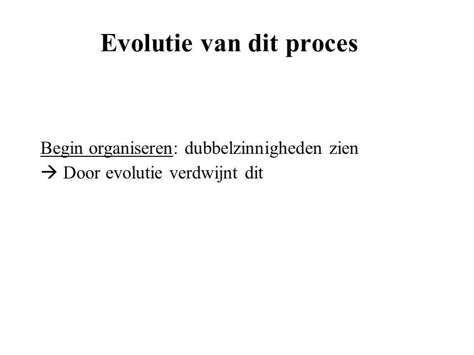Evolutie van dit proces Begin organiseren: dubbelzinnigheden zien  Door evolutie verdwijnt dit