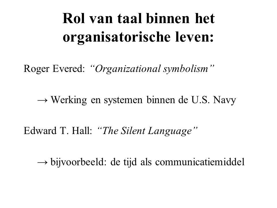"""Rol van taal binnen het organisatorische leven: Roger Evered: """"Organizational symbolism"""" → Werking en systemen binnen de U.S. Navy Edward T. Hall: """"Th"""