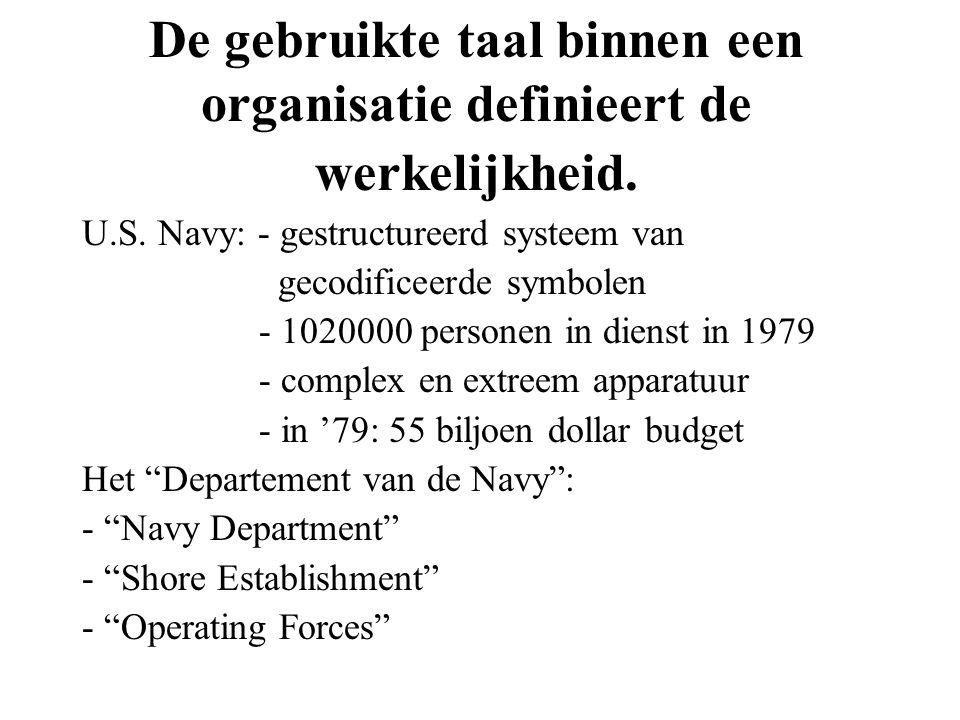 De gebruikte taal binnen een organisatie definieert de werkelijkheid. U.S. Navy: - gestructureerd systeem van gecodificeerde symbolen - 1020000 person