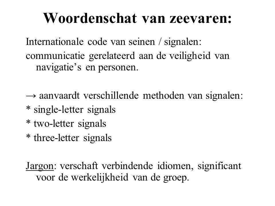 Woordenschat van zeevaren: Internationale code van seinen / signalen: communicatie gerelateerd aan de veiligheid van navigatie's en personen. → aanvaa