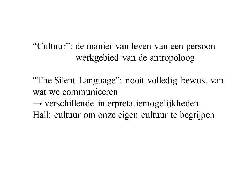 """""""Cultuur"""": de manier van leven van een persoon werkgebied van de antropoloog """"The Silent Language"""": nooit volledig bewust van wat we communiceren → ve"""