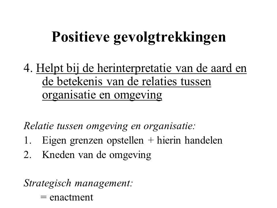 Positieve gevolgtrekkingen 4. Helpt bij de herinterpretatie van de aard en de betekenis van de relaties tussen organisatie en omgeving Relatie tussen