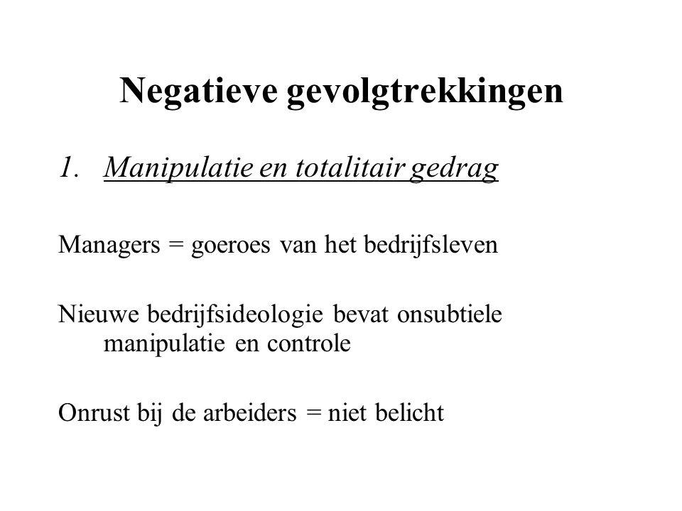 Negatieve gevolgtrekkingen 1.Manipulatie en totalitair gedrag Managers = goeroes van het bedrijfsleven Nieuwe bedrijfsideologie bevat onsubtiele manip
