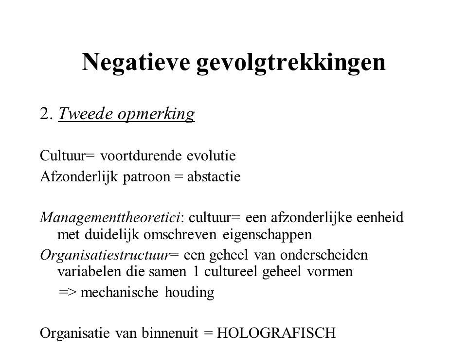 Negatieve gevolgtrekkingen 2. Tweede opmerking Cultuur= voortdurende evolutie Afzonderlijk patroon = abstactie Managementtheoretici: cultuur= een afzo