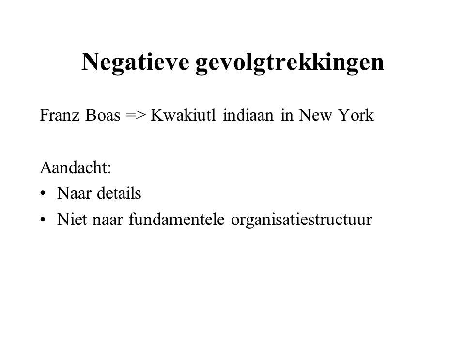 Negatieve gevolgtrekkingen Franz Boas => Kwakiutl indiaan in New York Aandacht: Naar details Niet naar fundamentele organisatiestructuur