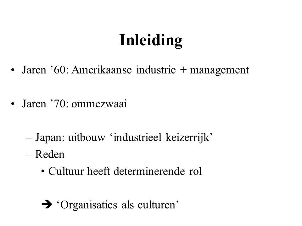 Inleiding Jaren '60: Amerikaanse industrie + management Jaren '70: ommezwaai –Japan: uitbouw 'industrieel keizerrijk' –Reden Cultuur heeft determinere