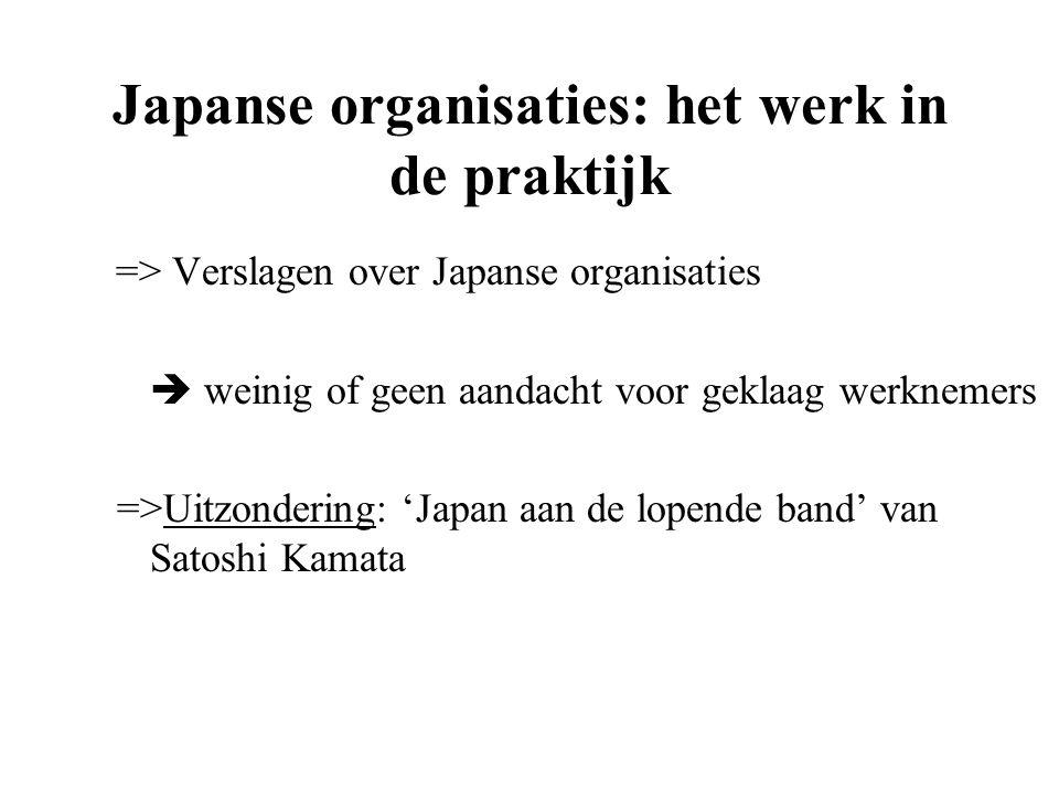 Japanse organisaties: het werk in de praktijk => Verslagen over Japanse organisaties  weinig of geen aandacht voor geklaag werknemers =>Uitzondering: