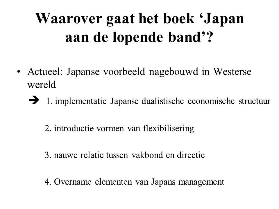 Waarover gaat het boek 'Japan aan de lopende band'? Actueel: Japanse voorbeeld nagebouwd in Westerse wereld  1. implementatie Japanse dualistische ec