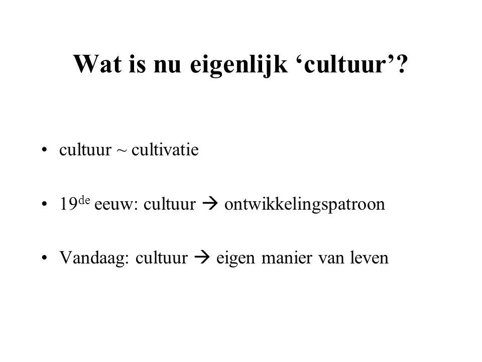 Wat is nu eigenlijk 'cultuur'? cultuur ~ cultivatie 19 de eeuw: cultuur  ontwikkelingspatroon Vandaag: cultuur  eigen manier van leven