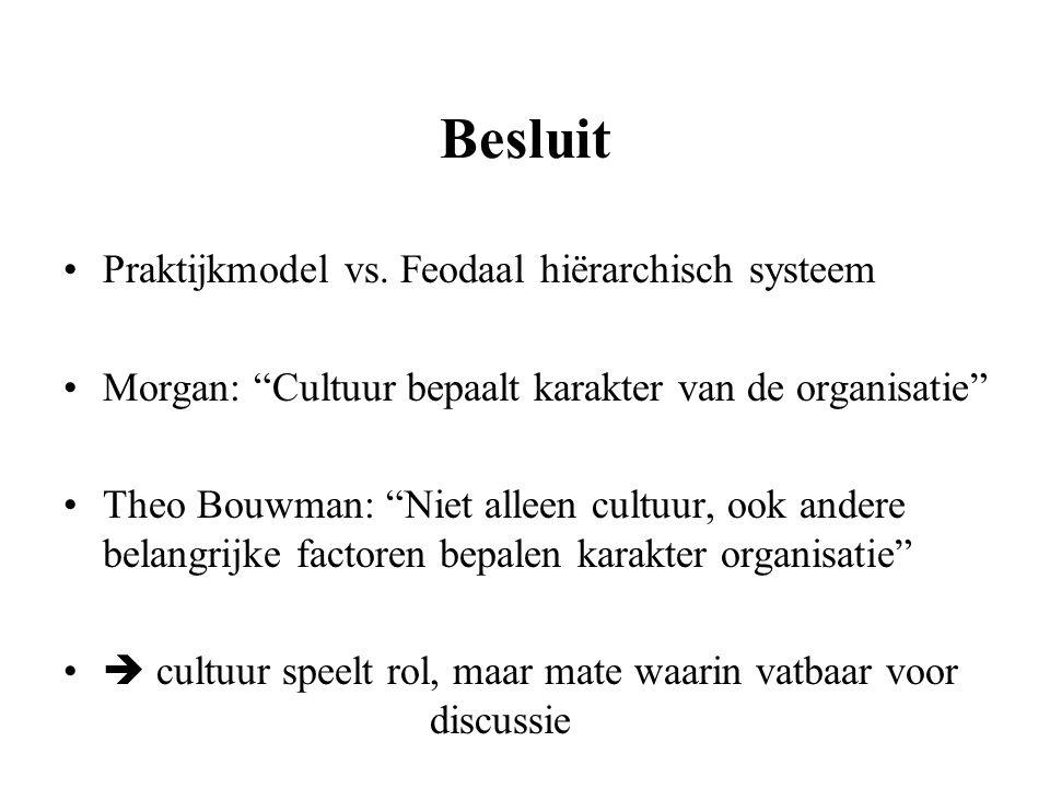 """Besluit Praktijkmodel vs. Feodaal hiërarchisch systeem Morgan: """"Cultuur bepaalt karakter van de organisatie"""" Theo Bouwman: """"Niet alleen cultuur, ook a"""