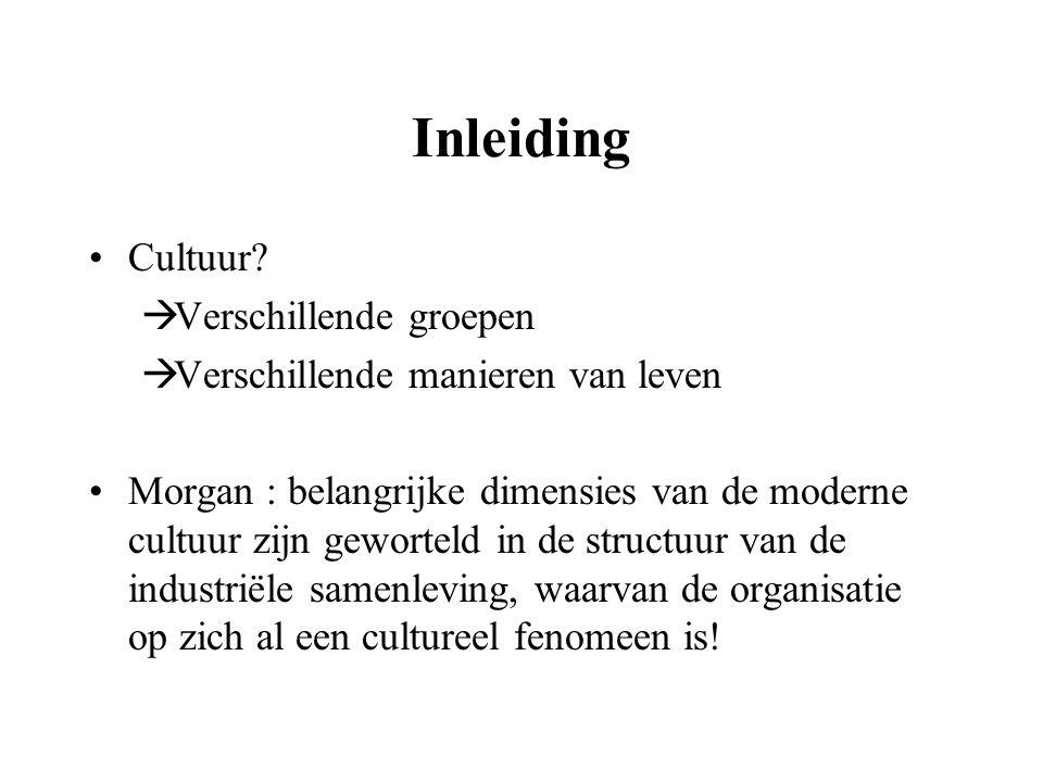 Inleiding Cultuur?  Verschillende groepen  Verschillende manieren van leven Morgan : belangrijke dimensies van de moderne cultuur zijn geworteld in