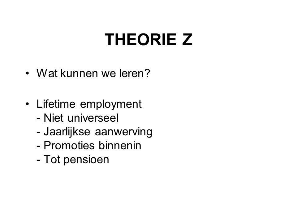 THEORIE Z Wat kunnen we leren? Lifetime employment - Niet universeel - Jaarlijkse aanwerving - Promoties binnenin - Tot pensioen