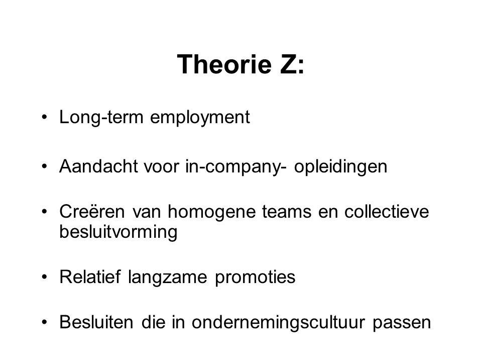 Theorie Z: Long-term employment Aandacht voor in-company- opleidingen Creëren van homogene teams en collectieve besluitvorming Relatief langzame promo