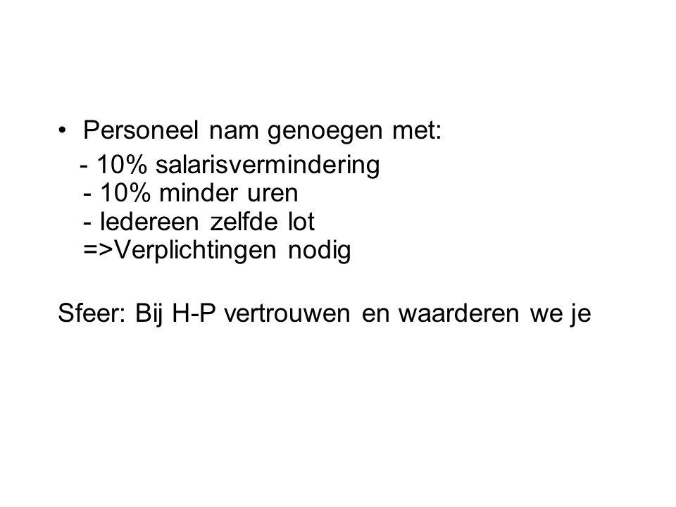 Personeel nam genoegen met: - 10% salarisvermindering - 10% minder uren - Iedereen zelfde lot =>Verplichtingen nodig Sfeer: Bij H-P vertrouwen en waar